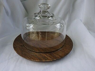 Vintage Dome Glass Wooden Base Cheese & Cracker Pepperoni Snack Serving Dish