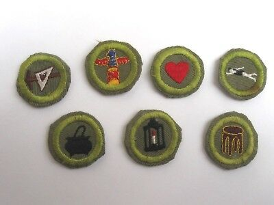Vtg 1940's Boy Scout Merit Badge Lot 7 Carving Cooking Metal & Wood Work Health