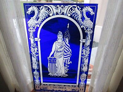 Etched Glass Colbalt Blue Door/Window Lite, Lady Columbia One of A Kind, Vintage