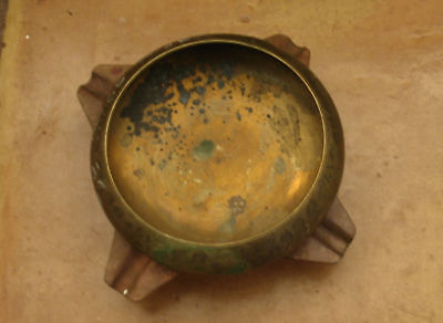 VINTAGE COPPER BRASS HEAVY ASHTRAY, ORNATE ENGRAVING! Hammered Copper Base
