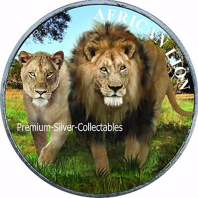 2016 Congo Lion - Second Coin in Series - Silver 1 Ounce Pure .999 Colorized!