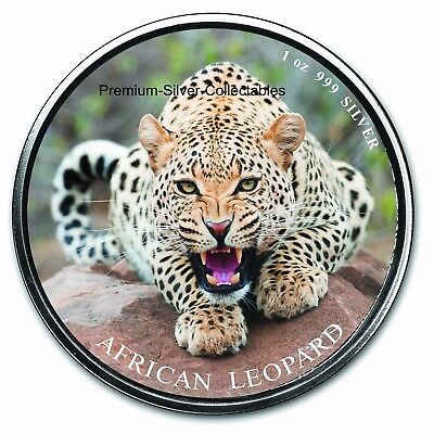 2017 Ghana Leopard - First Coin in Series - Silver 1 Ounce Pure .999 Colorized!!