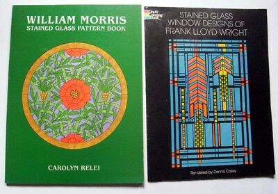 Lot 2 Stain Glass Books: Frank Lloyd Wright Patterns & William Morris Patterns