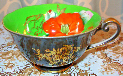 Vintage Tea Cup Black with Green Interior Very Unique Hand Painted