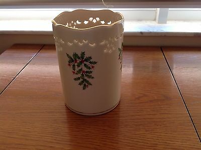 Lenox  Holiday Holly and Berries Pierced China Tall Candle Holder Gold