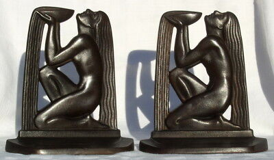 """Outstanding Pair of Bronzed Art Deco Bookends """"Nude Lady"""" Wall of Wisdom c.1929"""