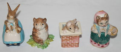 Lot (4) Vintage Beswick Beatrix Potter Porcelain Figurines Ribby, Thumb, Others