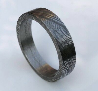 HUNTEX Unique Hand-Forged Damascus Ring Size 11.5 Mens Gift Jewellery