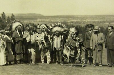Vintage Ansco Rppc Native American Indians With Civilians Soldier Real Photo