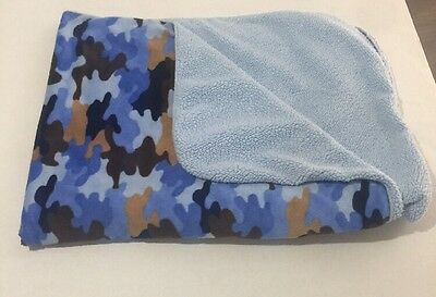 """Circo Blue Brown Camouflage Baby Boy Sherpa Security Blanket Lovey 30"""" x 40"""""""