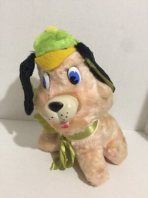 Vtg 1960's Rubber Nose Mouth Light Orange Dog Plush With Green Hat