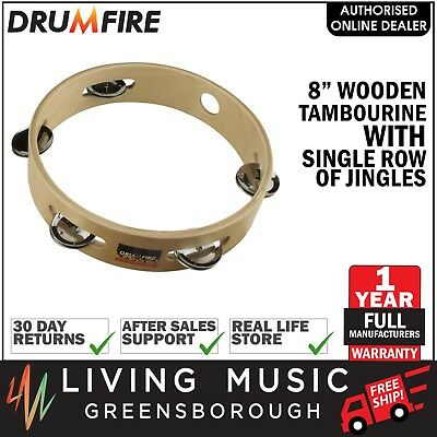 """NEW Drumfire 8"""" Wooden Tambourine Kids Percussion Music Education Rhythm Toy"""