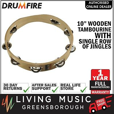 """NEW Drumfire 10"""" Wooden Tambourine Kids Percussion Music Education Rhythm Toy"""