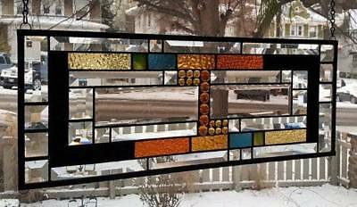 **BOLDLY BEVELED** Stained Glass Window Panel (Signed and dated)