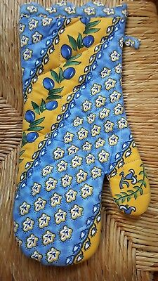 1 Pretty French Country Blue Yellow Olives Pot Holder Long Hand Oven Mitt NWOT