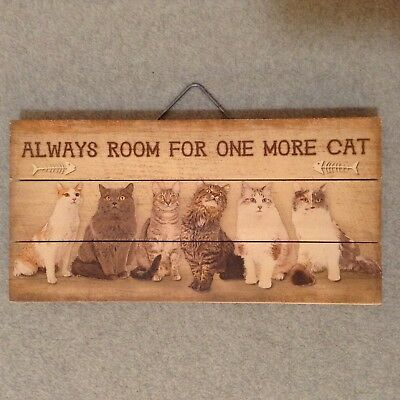 """""""Always Room For One More Cat"""" 12"""" x 6"""" Wood Wall Picture Plaque NICE!! (#PD-2)"""