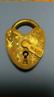 Antique Heart Shaped W&C Padlock with Key