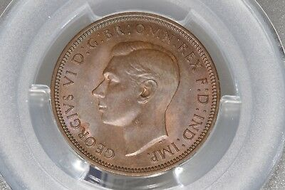 1942 Great Britain 1/2D Half Penny George VI - PCGS MS64BN - PATINA AND LUSTER