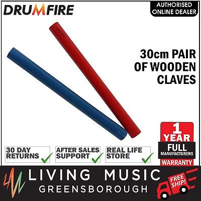 NEW Drumfire 30cm Pair Wooden Claves Kids Percussion Music Rhythm Toy (Blue/Red)