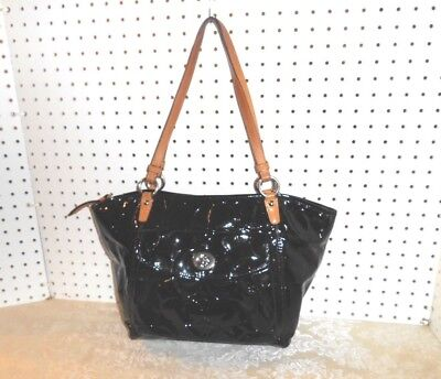 Authentic Coach  Leah Black Embossed Patent Leather Tote Handbag   #f14663