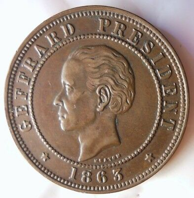1863 HAITI 20 CENTIMES - AU/UNC - Great Coin - FREE SHIPPING - HV42