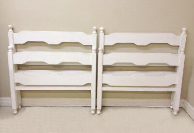 Superb Pair Of Painted Wooden Single Beds