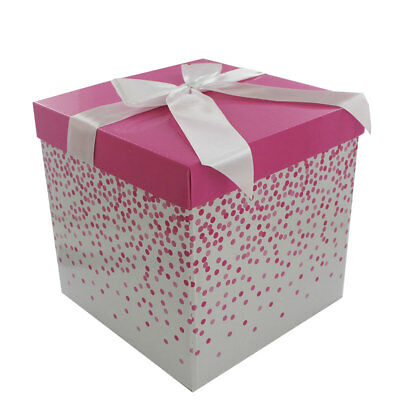 Small Folding Gift Box Pink Polka Dot Valentines Brand New