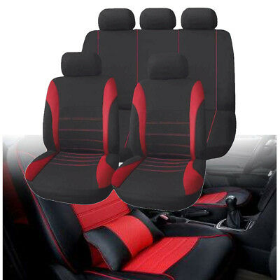 Black & Red Car Seat Covers Protector Universal Washable Pet Full Set Front Rear