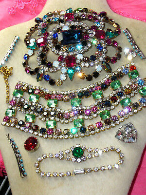 Huge Vintage Exlusive Antique  Rhinestones Lot Of Jewerly Mix Glass  A119