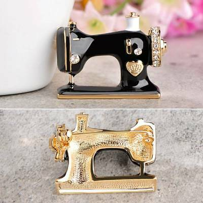 Sewing Machine Pin Black Enamel Brooch Rhinestone Woman Girl's Jewelry Gifts