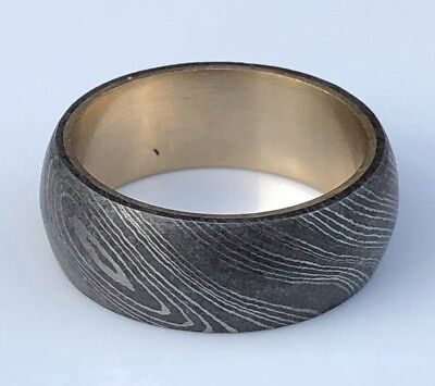 HUNTEX Unique Damascus Ring with Brass Inlet Ring Size 7.5 Mens Gift Jewellery
