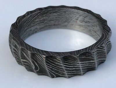 HUNTEX Unique Damascus Hand Carved Ring Size 10 Mens Gift Jewellery