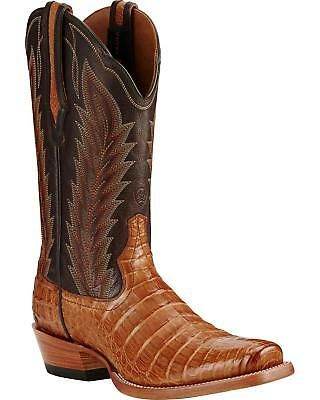 Ariat Turnback Caiman Belly Cowboy Boot - Square Toe Tan 11 EE