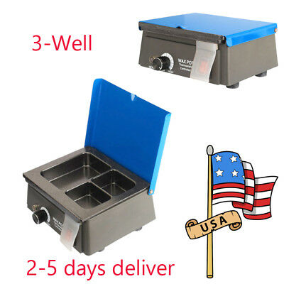 3-Well Dental Analog Wax Heater Pot Dental Lab 110V & 220V Waxer Melting Dipping