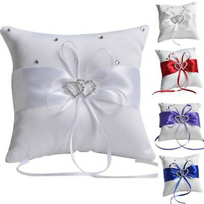 Double Heart Satin Ring Pillow Rhinestone Diamond for Wedding Party Decoration