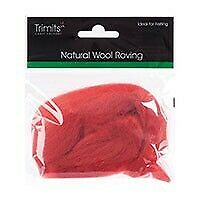 Natural Wool Roving, Cranberry, 10g Packet