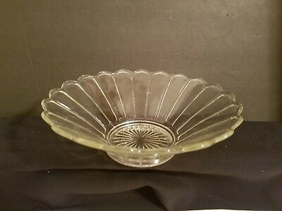 "Antique Vintage Clear Glass Petals Cut Low Fruit Bowl 9""x 3"""