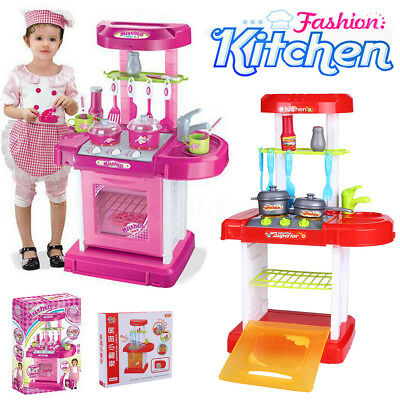 Portable Electronic Childrens Kids Kitchen Cooking Toys Cooker Role Play Set UK