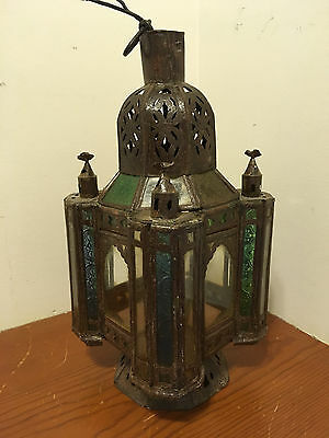 """Antique Moroccan Hanging Pendant Light Tin """"48"""" Multicolored Glass Panels Works!"""