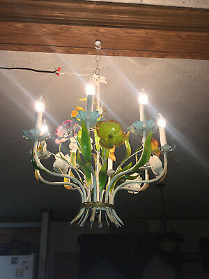 Lovely Vintage 8 Arm Italian Toleware Chandelier With Vibrant Flowers And Greens