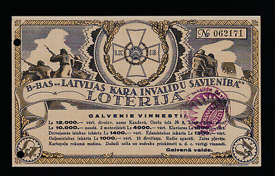 Latvia Wounded Warriors' Union lottery 1938