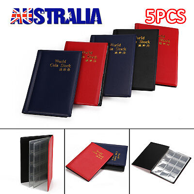 5x 120 Slots Coin Holder Album Money Penny Collecting Pocket Storage Folder Book