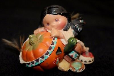 Enesco Friends of the Feather Smile Carver # 145041 Girl with Pumpkin - EC