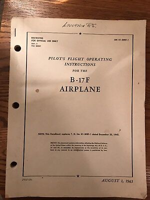 Orig. 1943 WWII WW2 Boeing B-17 Flight Operating Instructions Pilot Manual RARE