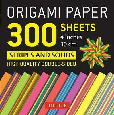 Origami Paper - Stripes and Solids - 4 inch - 300 sheets: Tuttle Origami Paper: