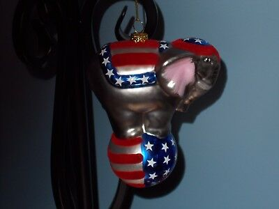 4th of July Glass elephant ornament