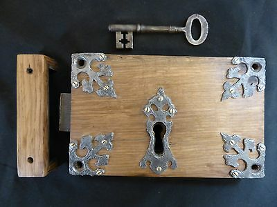 "9 x 5 3/4"" Gothic Reclaimed Wooden & Cast iron Church Carpenter Rim Lock Key"