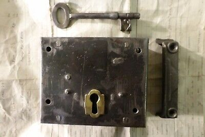 "5""x4.75 Victorian Cast Iron & Brass Door Rim Lock Key & Keep antique"