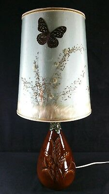 """Vintage 1940s Or 1950s Van Briggle Lamp Gloss Wheat w Butterfly Shade 21"""" EXC"""