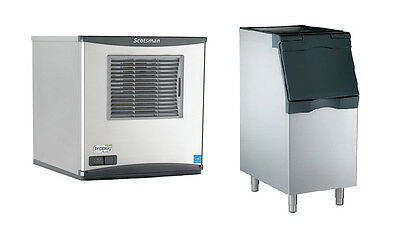 "Scotsman 450lb Prodigy Flake Ice Machine Air Cool & 370lb 22"" Ice Bin"